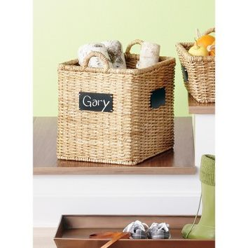 Smith & Hawken® Square Basket with Chalkboard; 18""