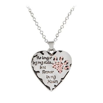 """Pet, dog """"no longer by my side, but forever in my heart"""" paw on heart shape pendant necklace"""