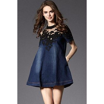 Cotton Mesh Embroidery Denim Jeans Mini Dresses