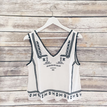 Kendall V Neck Boho Embroidered Tank
