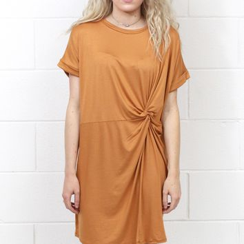 Knot Your T-Shirt Dress {Gold}