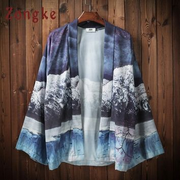 Zongke Japanese Kimono Cardigan Men Iceberg Printed Beach Kimono Cardigan Men Blue Long Kimono Jacket Men 2018 Summer Top Male