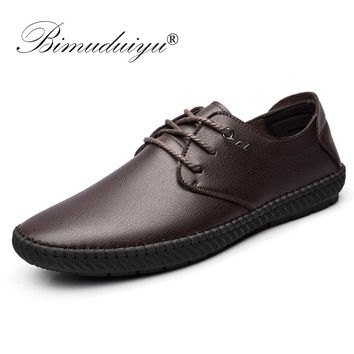 BIMUDUIYU New Men Casual Shoes Breathable Shoes Microfiber Leather Luxury Brand Flat Black Brown Shoes For Men Drop Shipping