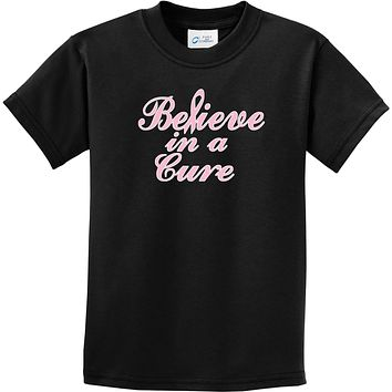 Kids Breast Cancer T-shirt Believe in a Cure Youth Tee