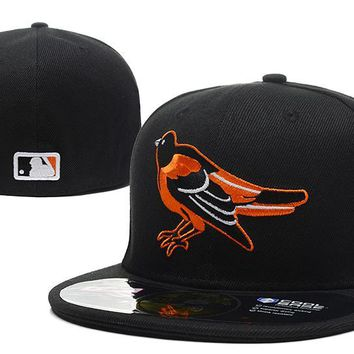 auguau Baltimore Orioles New Era MLB Authentic Collection 59FIFTY Hat Black-Orange