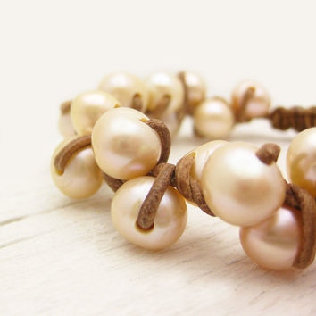 Peach Pearl Leather Bracelet / Natural Eco Friendly by byjodi