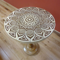 Walnut & Maple Mandala Pedestal Side Table - Sustainable Harvest -  Timber Green Woods