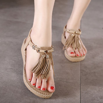 Bohemia Rhinestone Summer Tassels Wedge Korean Sandals = 4804999556