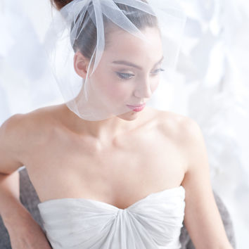 Tulle birdcage veil, bridal veil - ready to ship