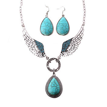 turquoise teardrop angel wing necklace and earring set