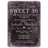 Sweet 16 Invitations - Black Grunge Purple