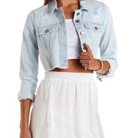 Light Wash Destroyed Cropped Denim Jacket