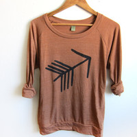 Tribal Arrow HAND STENCILED Slouchy Eco Heather Deep Scoop Neck Lightweight Sweatshirt in Rust and Black - S M L XL