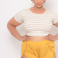 Plus Size Mini Gauze Shorts - Mustard