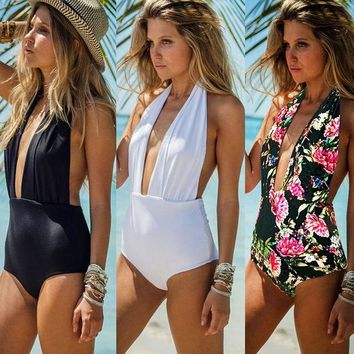 Chenier OPAL FERRIE - 2017 New One Piece Solid or Floral Bandage  Brazilian Beachwear