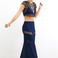 Cruise Away To Dubai Crop Top & Skirt