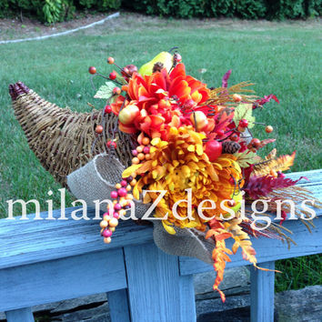 Cornucopia, Fall Centerpiece, Autumn Table Decor, Fall Harvest Decor, Horn of Plenty, Floral Centerpiece, Thanksgiving Table Decorations