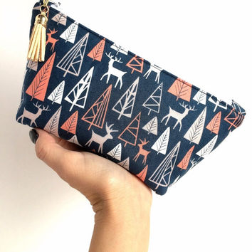Reindeer makeup bag, Small Makeup Bag, Woodland zipper bag, Forest zipper pouch, Navy makeup bag