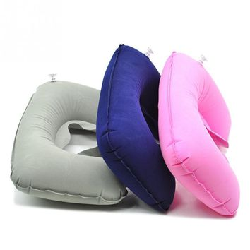 2018 Travel Pillow Portable Inflatable Neck Pillow U Shape Neck Blow Up flocked cloth Cushion Pillow for Flight Travel Accessory