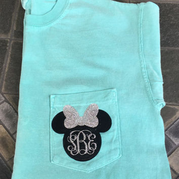LONG SLEEVE Minnie Mouse Inspired Monogram Glitter Comfort Colors Shirt // Personalized Glitter Disney Vacation Shirt