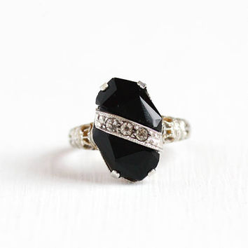 Antique Art Deco Sterling Silver Simulated Onyx & Rhinestone Ring - Vintage 1920s 1930s Size 6 3/4 Black Glass Filigree Flower Jewelry