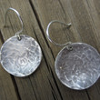 Oxidized Silver Disc Earrings, Hammered Silver Earrings, Large Silver Earrings