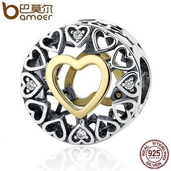 Valentine's Day Gift 925 Sterling Silver Heart Loving Circle, Clear CZ Beads Charms Fit Bracelet Women Jewelry PSC050