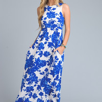 Moonlit Summer Night Maxi Dress - Blue