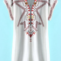 White Embroidered Short Sleeve Dress