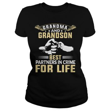 Grandma and Grandson best partners in crime for life shirt Premium Fitted Ladies Tee