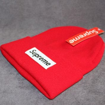 PEAPJ1A Supreme tide brand cold hat warm winter hat ski hat patch letters wool cap Red
