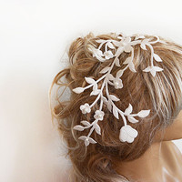 Bridal Headband, Bridal Hair Comb, Wedding Headband, Floral Embroidery, off-white, Bridal Laced Headband,  Wedding Hair Accessories