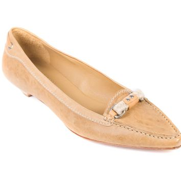 Car Shoe By Prada Women's Tan Leather Braided Pointed Toe Loafers