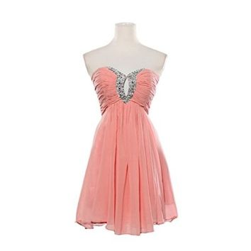 Fashion Plaza Strapless Graduation Cocktail Party Dress D0140
