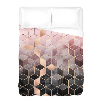 Pink Grey Gradient Cubes Duvet Cover