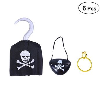 6pcs Pirate Costume Prop Eye Patches Earring Hook for Halloween Party and Cosplay