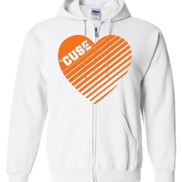 Official NCAA Syracuse Orange SU Otto the Orange DOWN THE FIELD! Women's Heart Basic Zip Hoodie - cuse1003