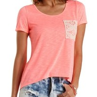 Crochet & Slub Knit High-Low Tee by Charlotte Russe - Neon Coral