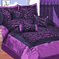 Amazon.com: Queen Size 8pcs Purple Black Satin Zebra Flocking Comforter Set with 4 Pillows: Home & Kitchen