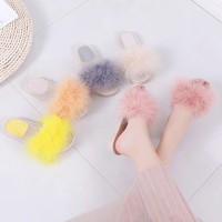 Candy Color Fox Fur Slippers Shoes