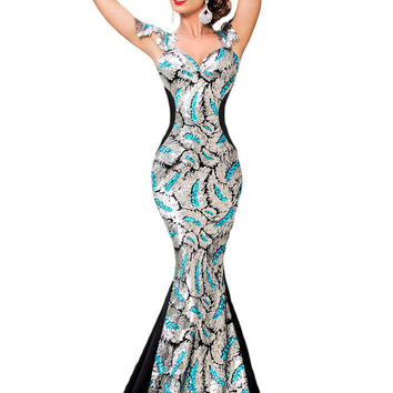 2016 New Summer Women's Fashion Silver Black Sequin Embellishment Elegant Mermaid Evening Gown LGY60844