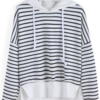 Hooded Striped Slit Long Sleeve Sweatshirt