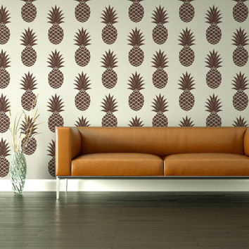 Wall Decals Pineapple Retro Geometric Fruit Hawaiian Tropical Mod Modern Pattern Abstract Mad Men Decor Shapes