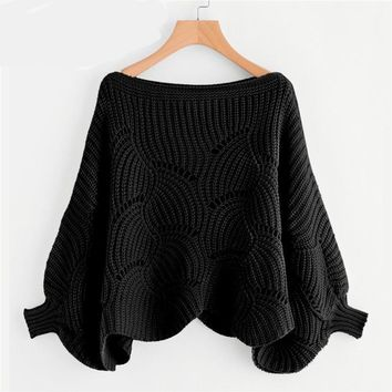 Preppy Solid Oversized  Sweaters