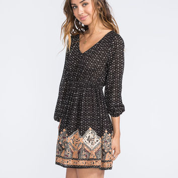 Chloe K Border Print Deep V Dress Black Combo  In Sizes