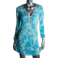 INC Womens Tie-Dye Sequnined Dress Swim Cover-Up