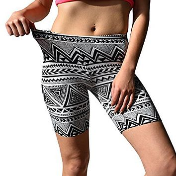 Womens Print Sport Pants Soft Brushed Active Stretch Yoga Bike Short  Pants