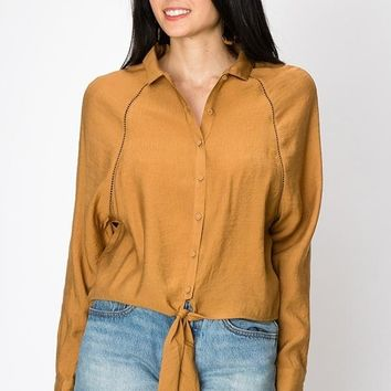 Women's Tie Front Button Down Top