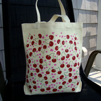 Hearts and Cherries Painted Tote Bag