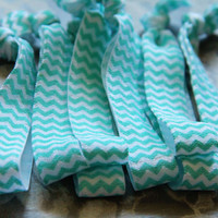 SALE Mint Chevron Hair Tie Set, No Dent, No Fray, Set of Four, ponytail holder